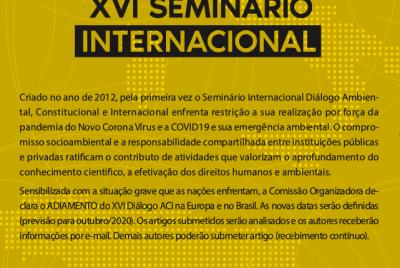 Covid-19 – adiamento XVI Diálogo